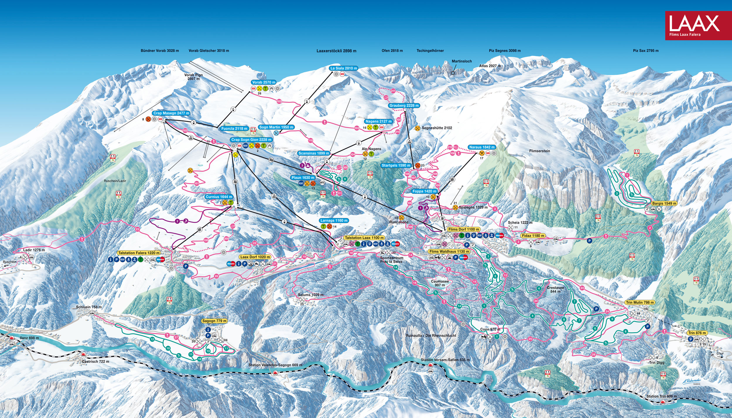 Laax and Flims - Winter and Cross-Country Ski Trail Map